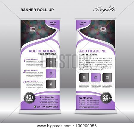 Roll up banner stand template stand design banner template   advertisement flyer template vector illustration purple background