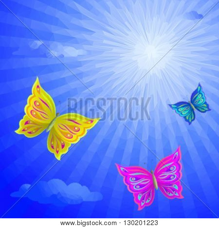 Colorful Butterflies Fly in the Blue Summer Solar Sky with Clouds, Low Poly Polygonal Background. Vector