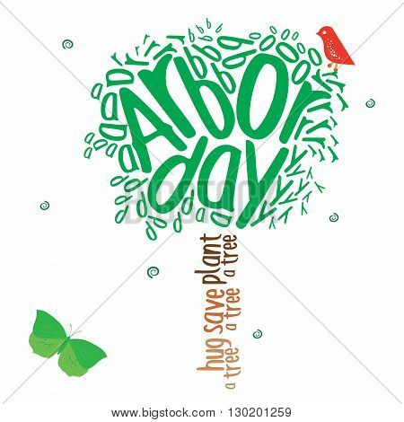 Typography design in the shape of a tree in celebration of Arbor day