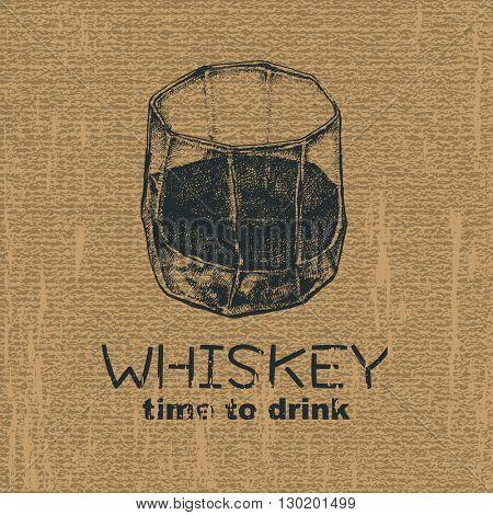 glass of whiskey vintage illustration, engraved retro style, hand drawn, sketch