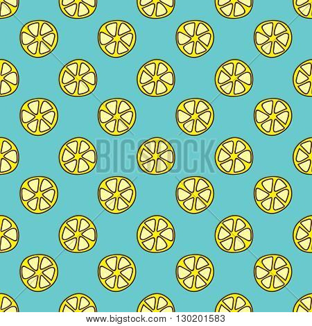 Seamless summer background. Hand drawn pattern. Suitable for fabric, greeting card, advertisement, wrapping. Bright and colorful lemon slices backdrop