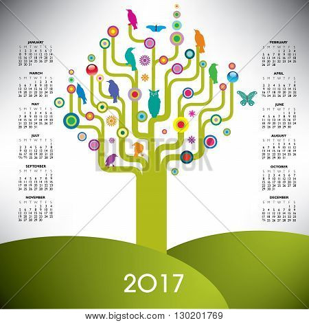 A playful and colorful tree calendar for 2017