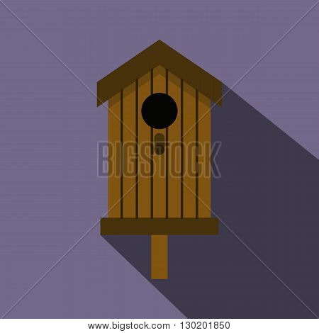 Bird house icon in flat style with long shadow