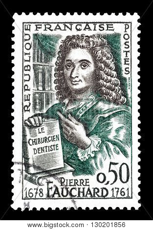 FRANCE - CIRCA 1961 : Cancelled postage stamp printed by France, that shows Pierre Fauchard.