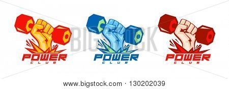 Arm with dumbbell body-building symbols set.