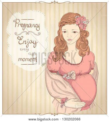 Pregnancy vintage style quotes card - Enjoy every single moment with graphic portrait of a pretty pregnant woman