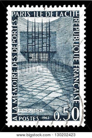 FRANCE - CIRCA 1963 : Cancelled postage stamp printed by France, that shows Memorial site.