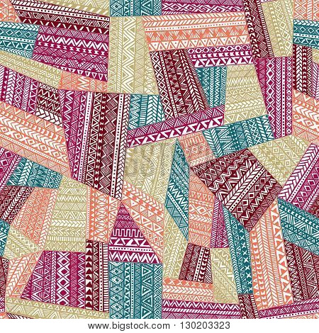 Seamless tribal pattern. Geometric ornament hand drawn. Colorful illustration of a patchwork . Zentangle.
