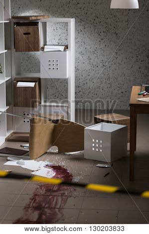 Bloody crime scene splash of blood on the floor
