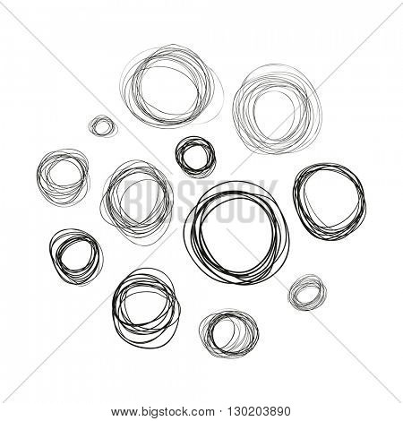 Circles. Hand drawn. Elements for your design. Vector illustration.