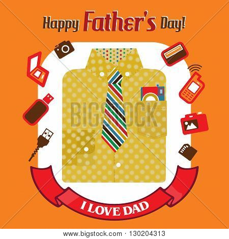 Objects associated with dad placed with the text Happy Fathers day on an orange color background