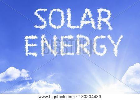 Solar Energy cloud word with a blue sky