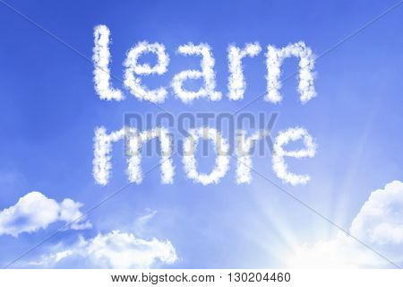 Learn More cloud word with a blue sky