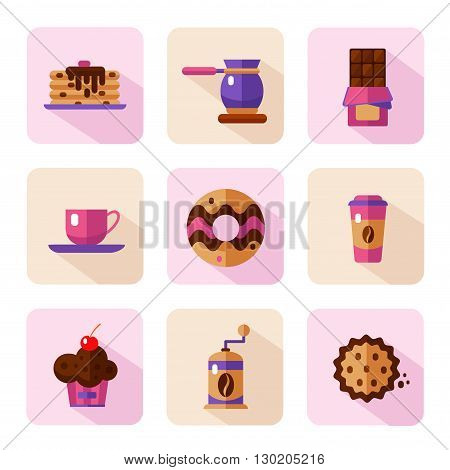 Vector flat style icons of coffee and sweets products. Dessert icons set. Cup, coffee grinder, coffee maker, donut, chocolate, cake, cookie, pancakes, muffin.
