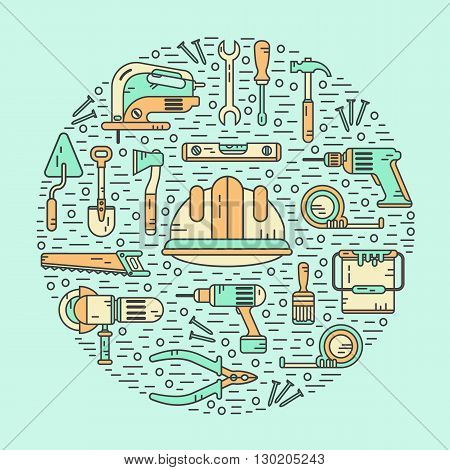 Vector color modern line style icons concept of constructions tools. Pliers, drill, spatula, helmet, shovel, saw, screwdriver, wrench, paint roller, paint bucket, brush. Round shape illustration.