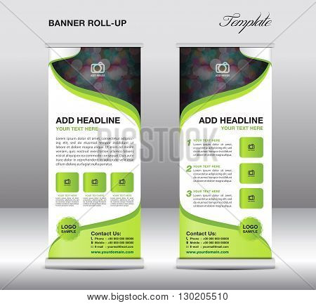 Roll up banner stand template stand design banner template green banner advertisement flyer template presentation green background