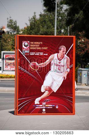 ANKARA/TURKEY-AUGUST 30, 2010: Billboard of 2010 FIBA World Championship Turkey near the Arena Sport Hall of Ankara. August 30, 2010-Ankara/Turkey