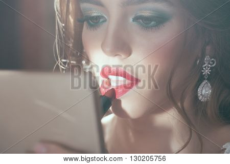 Sexy Elegant Girl With Red Lipstick