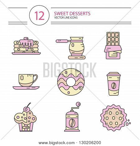 Vector modern line style icons set of coffee and sweets products. Dessert icons set. Cup, coffee grinder, coffee maker, donut, chocolate, cake, cookie, pancakes, muffin.