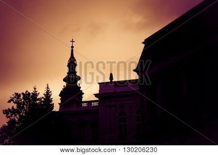 Silhouette of St. Michael the Archangel Cathedral at sunset. Belgrade Serbia.