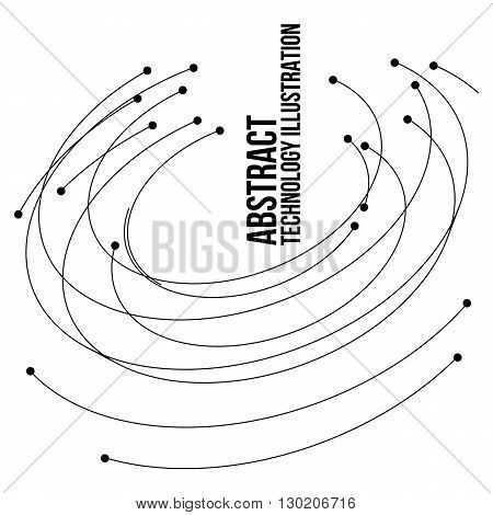 Vector connect circle lines illustration. Outline tech background. Business network abstract concept. Technology and digital backdrop with mesh. Stripes dots and point design.