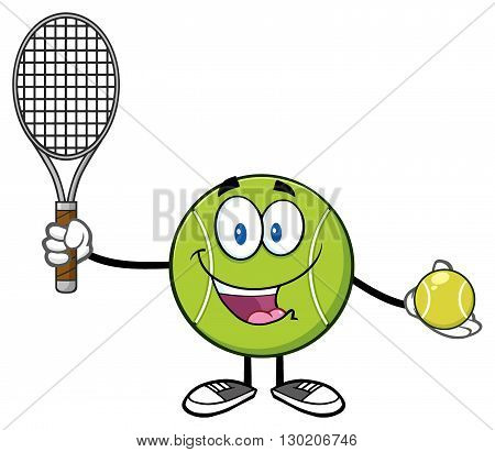 Cute Tennis Ball Player Cartoon Character Holding A Tennis Ball And Racket