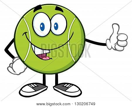 Cute Tennis Ball Cartoon Mascot Character Giving A Thumb Up