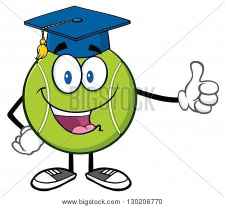 Happy Tennis Ball Cartoon Mascot Character With Graduate Cap Giving A Thumb Up