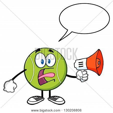 Tennis Ball Cartoon Mascot Character An Announcement Into A Megaphone With Speech Bubble