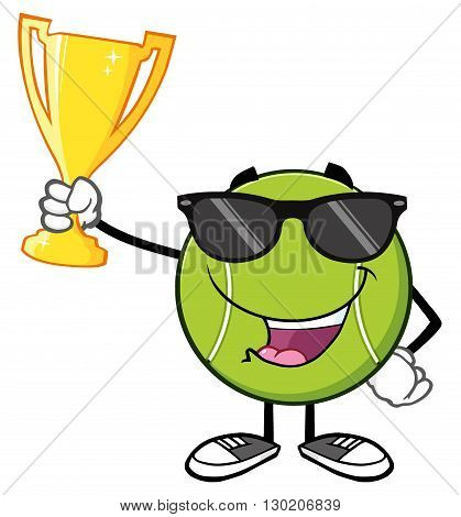 Happy Tennis Ball Cartoon Character With Sunglasses Holding A Trophy Cup