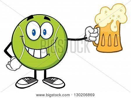 Smiling Tennis Ball Cartoon Character Holding A Beer