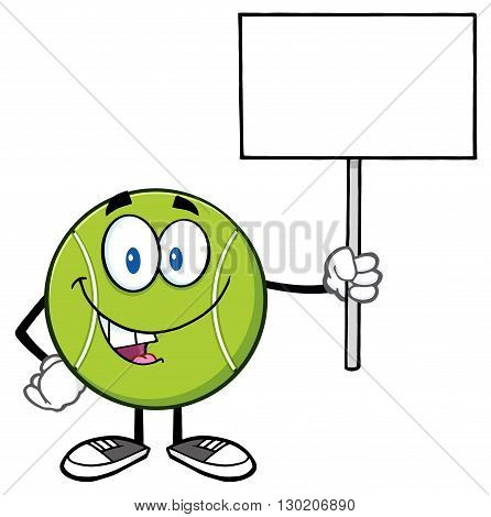 Talking Tennis Ball Cartoon Mascot Character Holding A Blank Sign