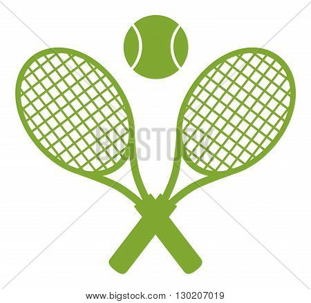 Green Crossed Racket And Tennis Ball. Illustration Isolated On White