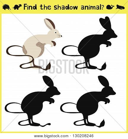 Children's developing game to find an appropriate shadow animal-jerboa. Vector illustration