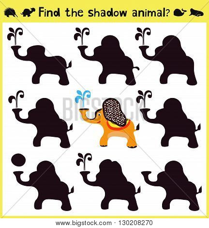 Children's developing game to find an appropriate shadow animal funny baby elephant. Vector illustration