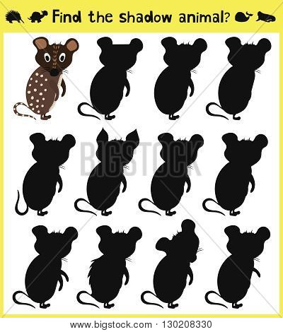 Children's developing game to find an appropriate shadow animal funny baby mouse. Vector illustration