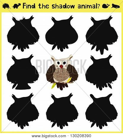 Children's developing game to find an appropriate shadow forest birds owl predator. Vector illustration