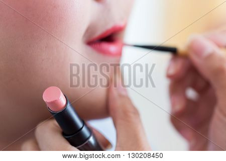 Red Lipstick Of Makeup With Cosmetic For Woman
