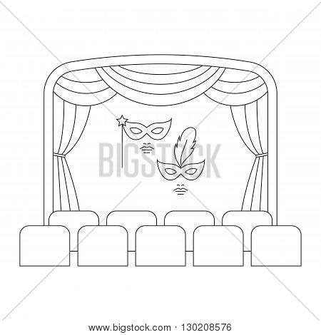 Theater stage with curtain and masks vector line illustration. Theater or cinema logo template. Entertainment icon.
