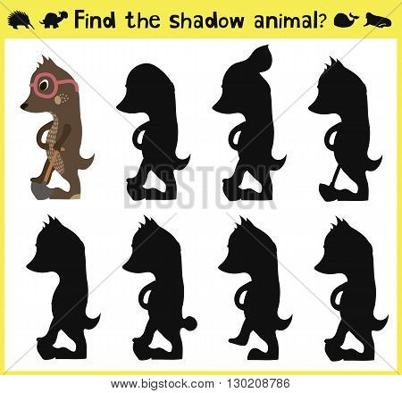 Children's developing game to find an appropriate shadow of the animal the mole. Vector illustration