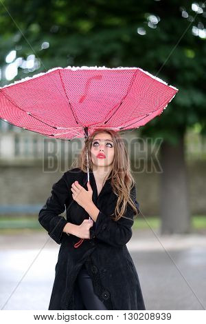 Young Girl With Red Umbrella