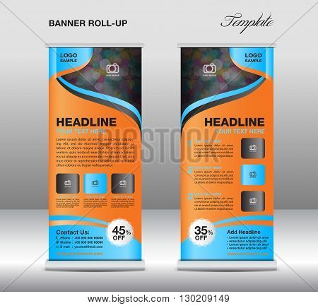Roll up banner stand template stand design banner template Blue banner advertisement flyer template vector illustration trade design