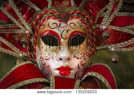 red carnival mask, coloful costume for canival festival