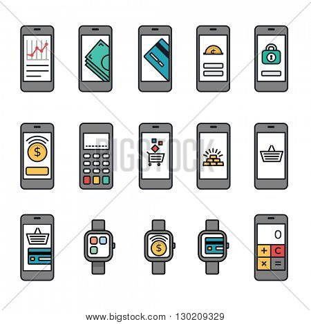 Mobile phones with banking and online shopping screens collection + Terminal & Watches bonus.