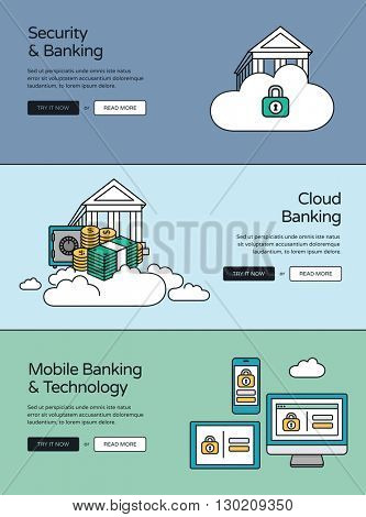 Online banking website banners. Security, cloud banking and mobile devices....