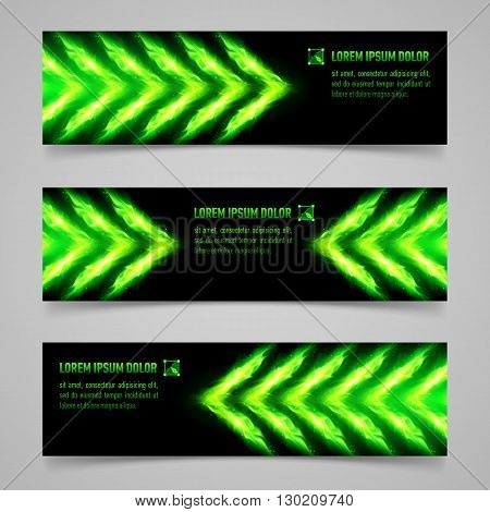 Set of banners with green flaming arrows