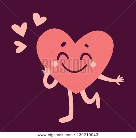 Cute Heart Character In Lovevector