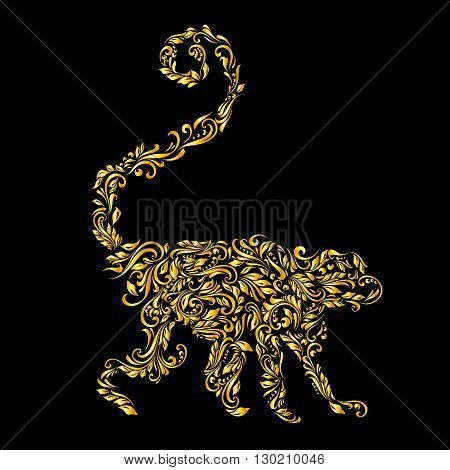Floral gold pattern of vines in the shape of a monkey on a black background