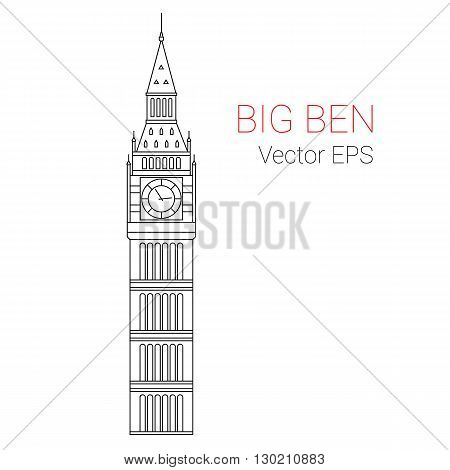 Vector Line Icon of Big Ben Tower, London.