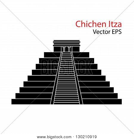 Vector flat Icon of Chichen Itza, Mexico. Isolated on white background.